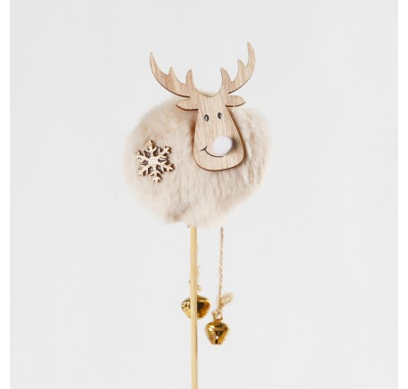 Pique décoration RENNE bois 35 cm  - Décoration de Noël  - Lecomptoirdesauthentics