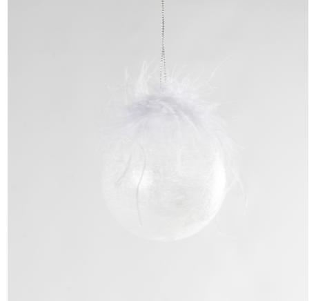 Boule Noël en verre givré plume blanche 8 cm - Décoration de Noël  - Lecomptoirdesauthentics
