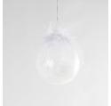 Boule Noël en verre givré plume blanche 8 cm