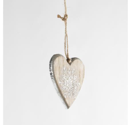 Suspension Coeur en bois naturel argenté flocon pailleté 8 cm - Décoration de Noël  - Lecomptoirdesauthentics