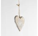 Suspension Coeur en bois naturel argenté flocon pailleté 8 cm