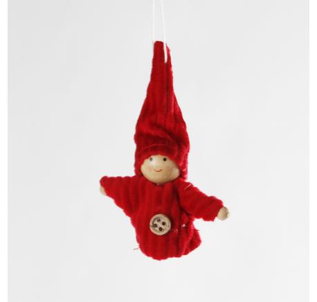Lutin GARCON à suspendre ANDY rouge 8 cm - Décoration de Noël  - Lecomptoirdesauthentics