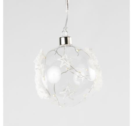 Boule Noël en verre motif étoiles blanches LED  - Décoration de Noël  - Lecomptoirdesauthentics