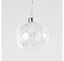 Boule Noël en verre motif étoiles blanches LED