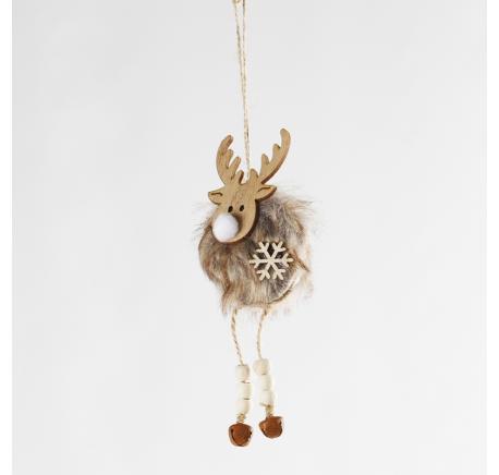 Suspension de Noël renne bois et grelots 16 cm  - Décoration de Noël  - Lecomptoirdesauthentics