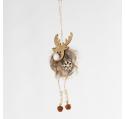 Suspension de Noël renne bois et grelots 16 cm