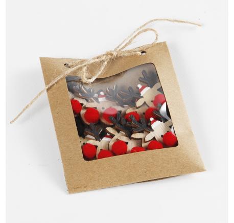 Set de 12 RENNES décoratives en bois avec pompon rouge -  - Lecomptoirdesauthentics