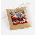 Set de 12 RENNES décoratives en bois avec pompon rouge