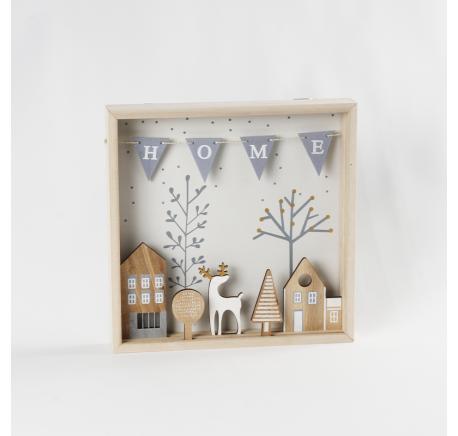 Déco de Noël tableau mural bois naturel décor Cerf  - Décoration de Noël  - Lecomptoirdesauthentics
