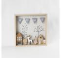 Déco de Noël tableau mural bois naturel décor Cerf
