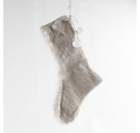Chaussette du Père Noël Fourrure beige 29 cm - Décoration de Noël  - Lecomptoirdesauthentics