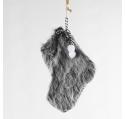 Chaussette du Père Noël Fourrure anthracite 18 cm