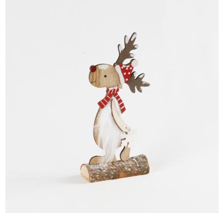 Renne de Noël Neige en bois rouge et blanc 23,5 cm - Décoration de Noël  - Lecomptoirdesauthentics
