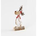 Renne de Noël Neige en bois rouge et blanc 23,5 cm
