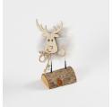 Renne à poser bois et métal gris clair 13,5 cm