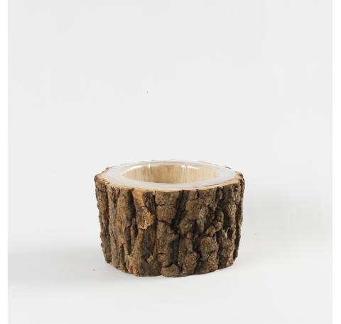 Cache pot en bois 17,5 X 10 cm