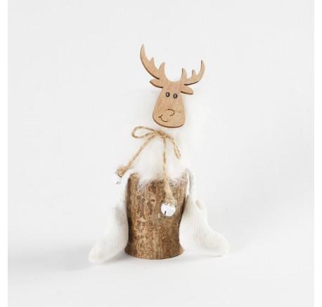 Renne Fourrure Blanc sur rondin en bois à poser 15 cm   - Décoration de Noël  - Lecomptoirdesauthentics