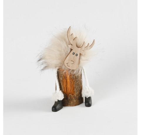 Renne Fourrure Beige sur rondin en bois à poser 15 cm