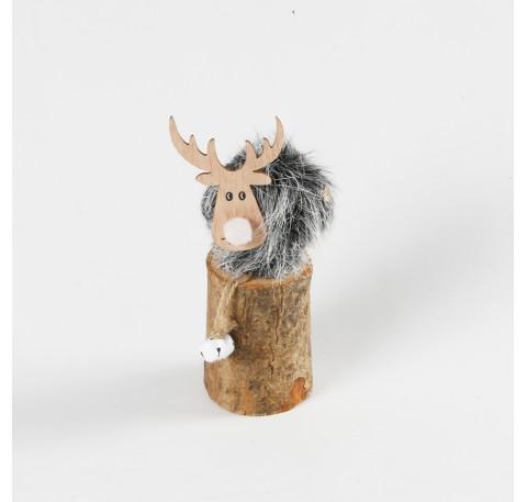 Renne Fourrure Grise sur rondin en bois à poser 15 cm