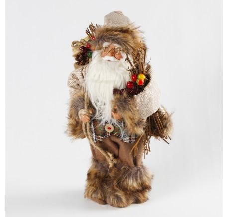Figurine PERE-NOEL beige fourrure 30 cm - Décoration de Noël  - Lecomptoirdesauthentics