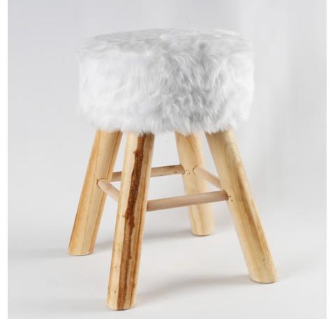 Pouf Fourrure Blanc pied bois