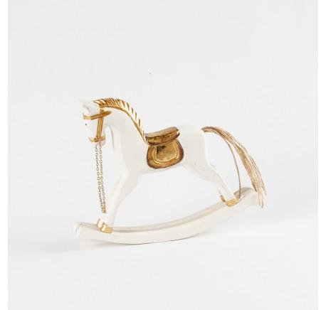 Déco de Noël cheval à bascule déco Blanc Or Ht 19 cm  - Décoration de Noël  - Lecomptoirdesauthentics