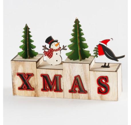 Déco de Noël Lettre XMAS en bois LED  - Décoration de Noël  - Lecomptoirdesauthentics