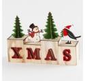 Déco de Noël Lettre XMAS en bois LED