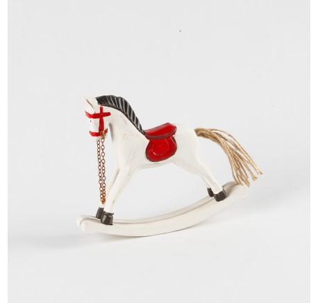 Déco de Noël cheval à bascule bois 19 cm  - Décoration de Noël  - Lecomptoirdesauthentics