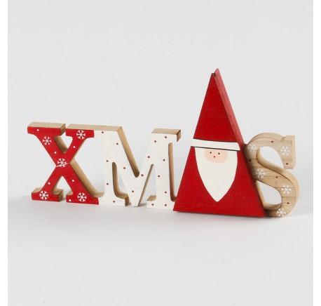 Déco de Noël Lettre décorative XMAS Bois à poser  - Décoration de Noël  - Lecomptoirdesauthentics
