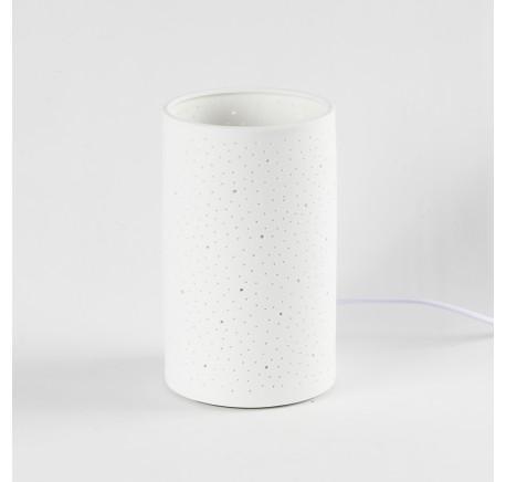 Lampe cylindrique motif pointillé céramique - Luminaire - Lecomptoirdesauthentics