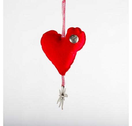 Coeur rouge avec  Edelweiss à - Décoration de Noël  - Lecomptoirdesauthentics