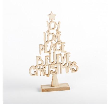 Arbre Noël Bois  Message CHRISTMAS JOY PEACE LOVE BELIEVE - Décoration de Noël  - Lecomptoirdesauthentics