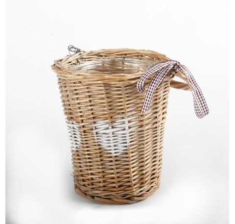 Panier Rotin COEUR avec Vase Pot Verre Ht 19 cm