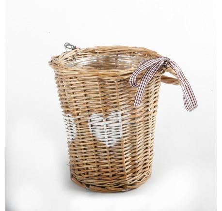 Panier Rotin COEUR avec Vase Pot Verre Ht 19 cm - Vase - Lecomptoirdesauthentics