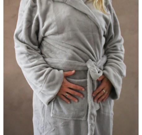 Peignoir à capuche PUR ET DESIGN gris taille L - Linge de maison - Lecomptoirdesauthentics
