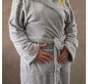 Peignoir à capuche PUR ET DESIGN gris taille L