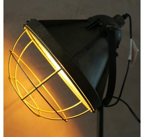 Lampe sur trepied métal façon vieux projecteur - Luminaire - Lecomptoirdesauthentics