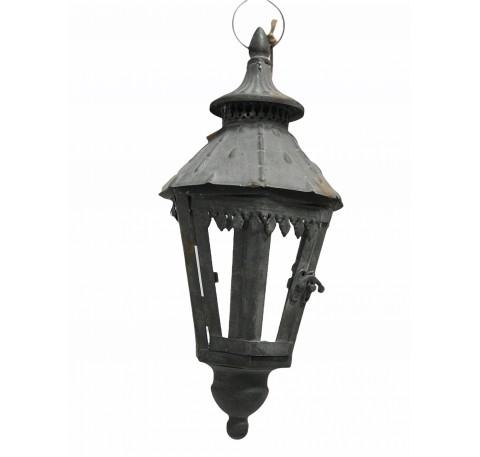 Lanterne hexagonale en métal gris à suspendre