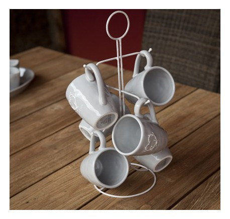 Porte TASSE avec 6 MUG Collection DOLCEVITA céramique grise  - Vaisselle - Lecomptoirdesauthentics