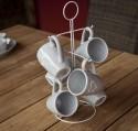 Porte TASSE avec 6 MUG Collection DOLCE VITA céramique grise