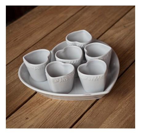 Tasse à Café Espresso avec Plat Coeur Céramique grise DOLCEVITA - Vaisselle - Lecomptoirdesauthentics