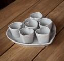 Tasse à Café Espresso avec Plat Coeur Céramique grise DOLCEVITA