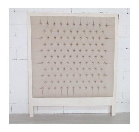 Tête de lit MATHEOS en bois blanc et matelas mousse 161 x 136