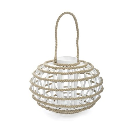 Lanterne en bois blanc et corde  - Lanterne - Lecomptoirdesauthentics